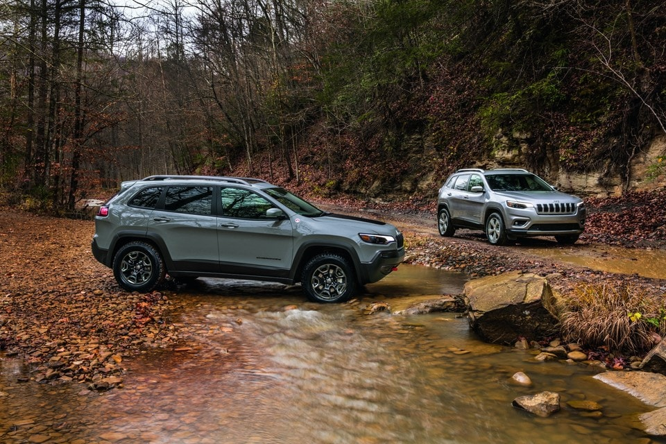 Two 2021 Silver Jeep Cherokee in Forest parked along stream