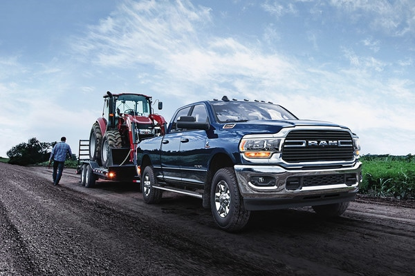 2020 Ram 2500 Towing a Farm Loader