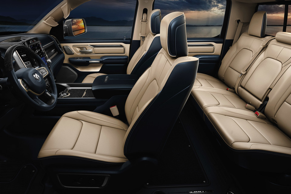 2020 Ram 1500 interior with beige seatings