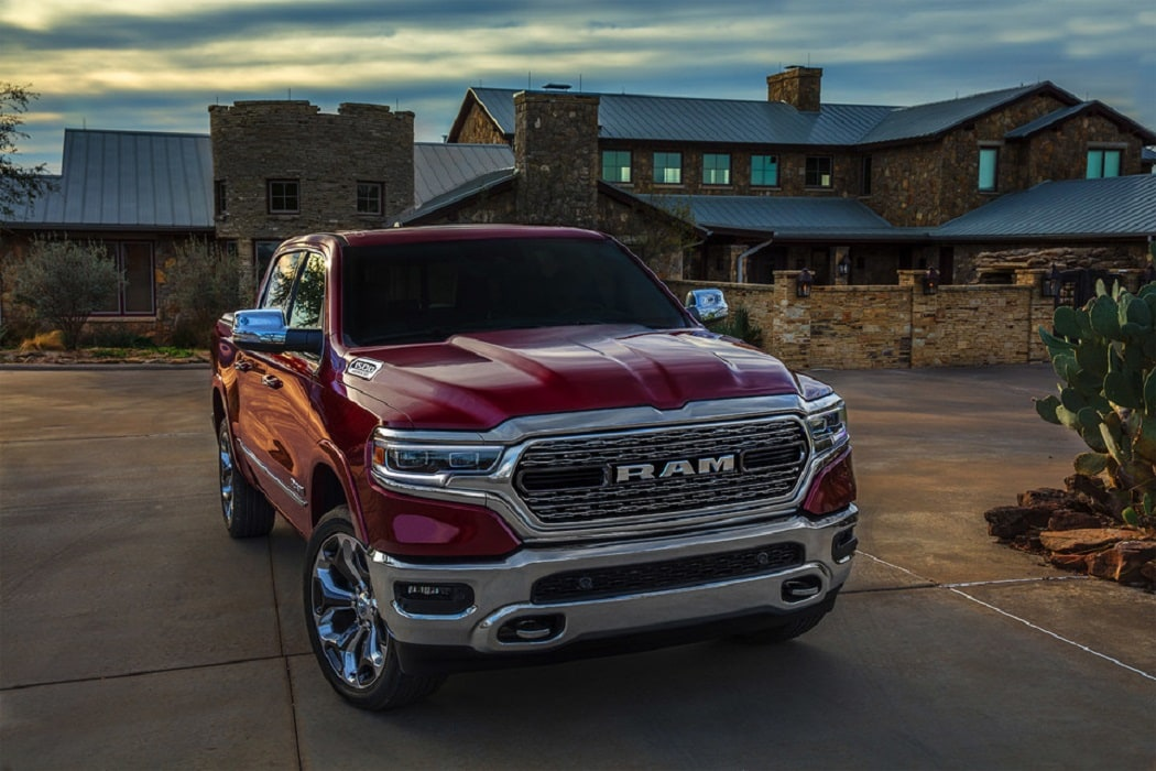 2020 Ram 1500 exterior red parked in front house