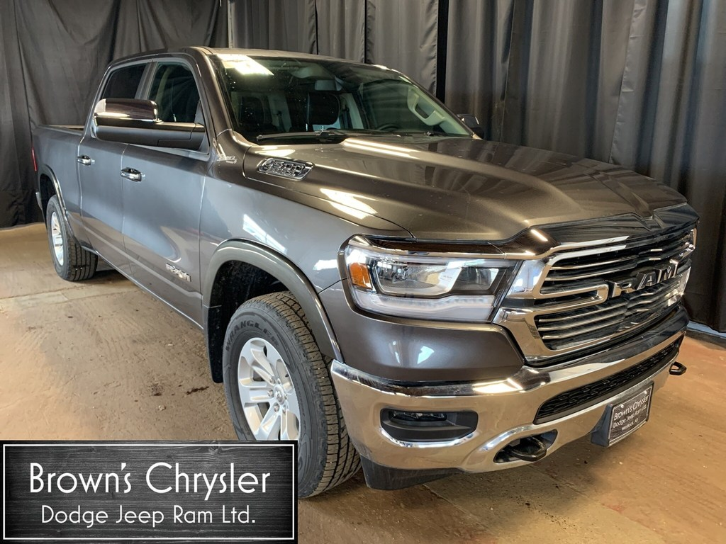 Featured New 2019 Ram All-New 1500 Crew CAB Laramie 4X4 / Heated Leather Bench Seat Truck Crew Cab 1C6SRFRT1KN537889 for sale in Westlock, AB