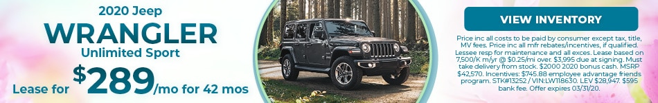 March 2020 Jeep Wrangler Lease