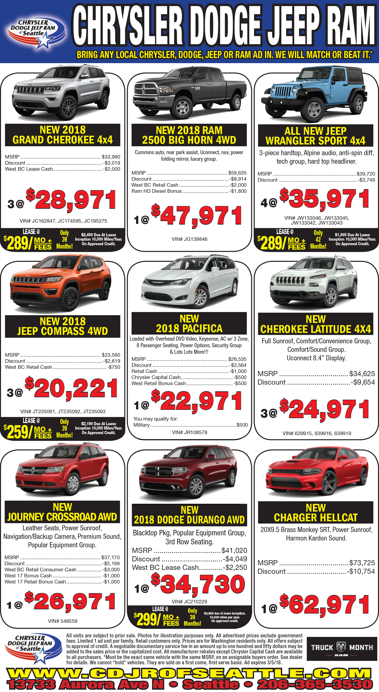 Chrysler Dodge Jeep Ram Of Seattle New Chrysler Dodge Jeep - Chrysler dealer seattle