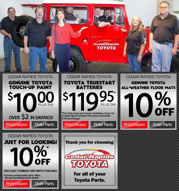 Discount Toyota Parts >> Parts Specials Cedar Rapids Toyota Hiawatha Ia