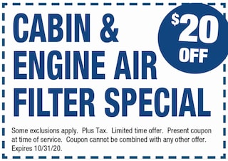 Cabin & Engine Air Filter Special