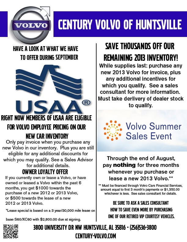 Century Automotive Group September Volvo Specials Usaa Members - Volvo invoice pricing