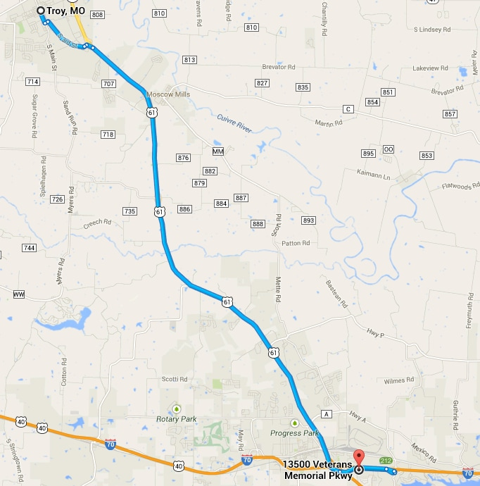 Mapped Directions from Troy to Century Dodge Wentzville.PNG