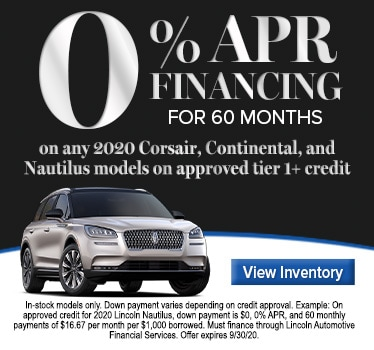 0% APR Financing for 60 months on any 2020 Corsair, Continental, Nautilus