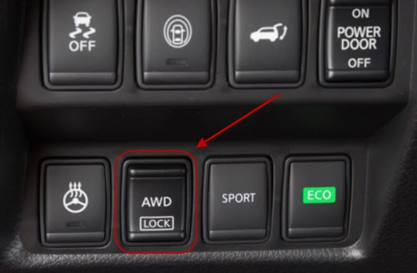 Nissan All-Wheel Drive LOCK button