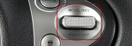 Nissan Coast/Set and Accel/Res buttons adjust speed