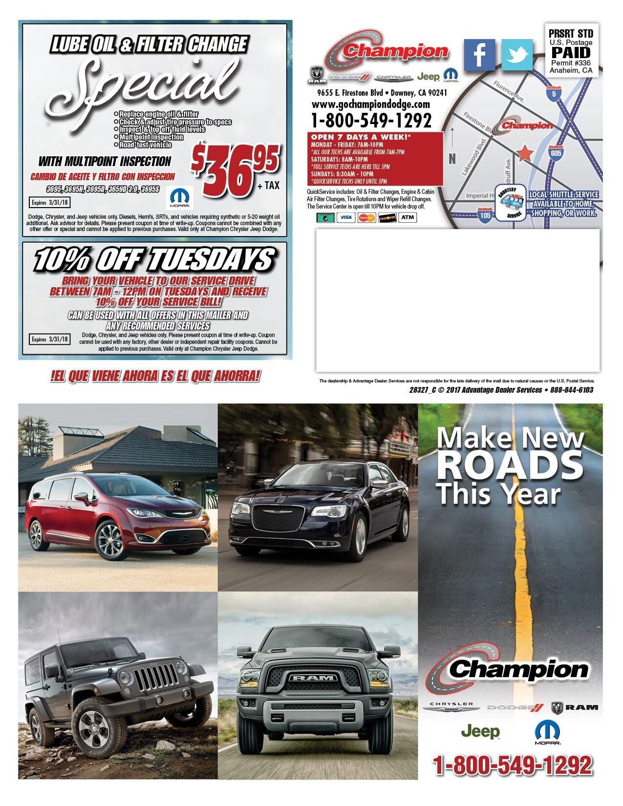 Auto Service Specials In Downey CA Champion Dodge California - Champion chrysler dodge jeep