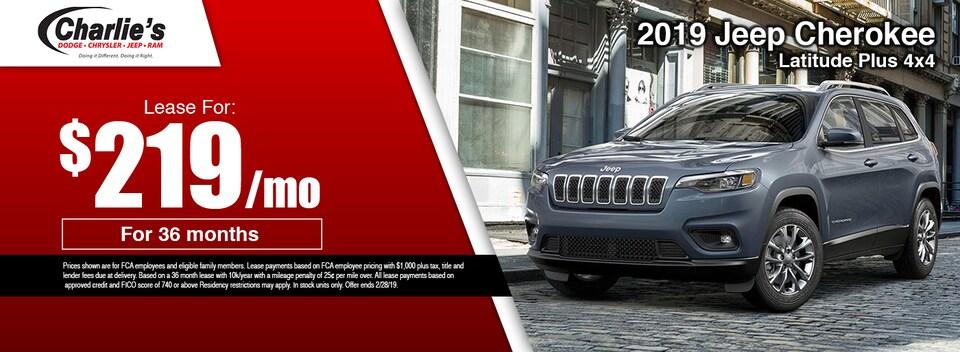 2019 Jeep Cherokee Latitude Plus 4x4 Lease Special