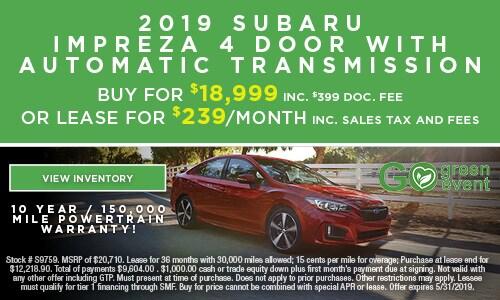 2019 Subaru Impreza 4 Door with Automatic Transmission