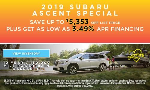 2019 Subaru Ascent Special