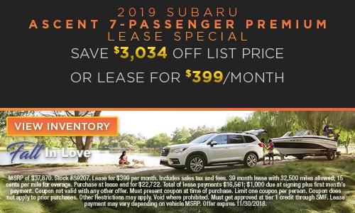 2019 Subaru Ascent Lease Special