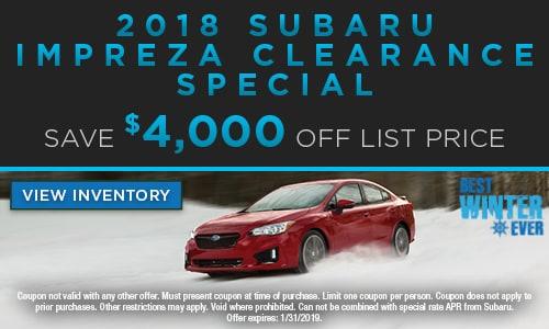 2018 Subaru Impreza Clearance Special