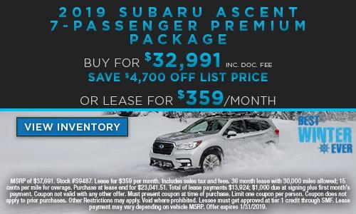 2019 Subaru Ascent 7-Passenger Premium Package