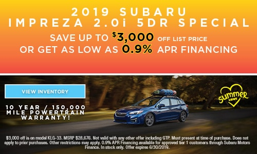 2019 Subaru Impreza 2.0i 5DR Special