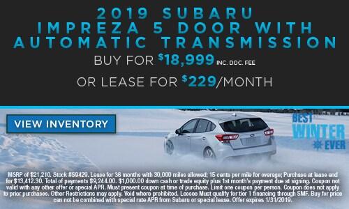 2019 Subaru Impreza 5DR w/Automatic Transmission