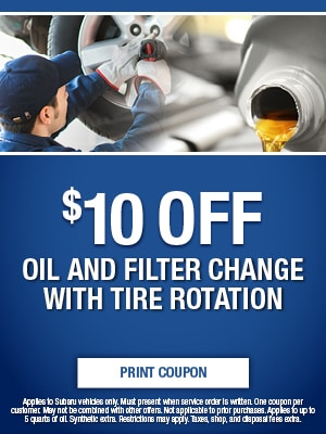 $10 Off Oil and Filter Change With Tire Rotation