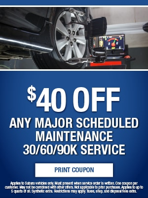 $40 Off Any Major Scheduled Maintenance 60/60/90k Service