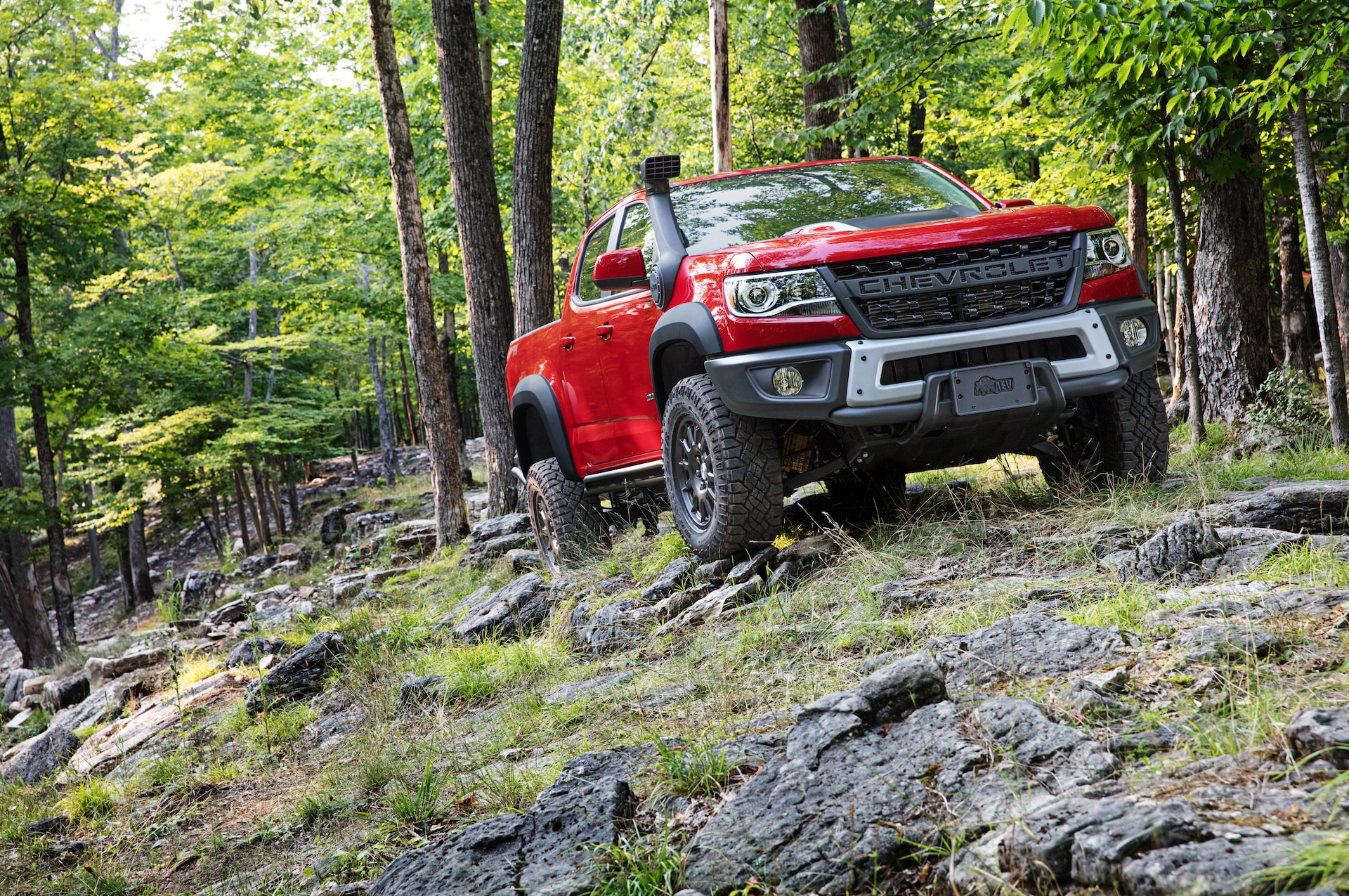 Chevrolet of New Bern is a Car Dealership in New Bern near Grantsboro NC | Red 2020 Chevrolet Colorado driving off road in the woods