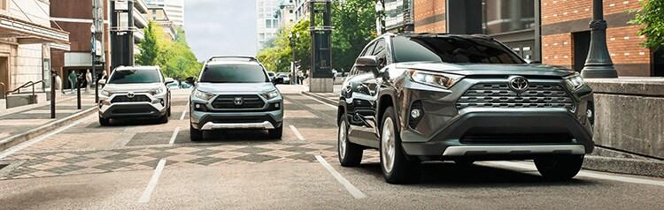 2020 Toyota RAV4 models driving in city