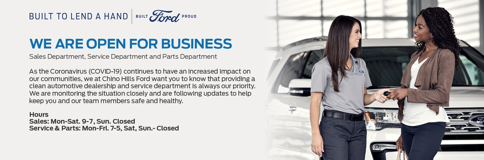 Chino Hills Ford is Open for Business