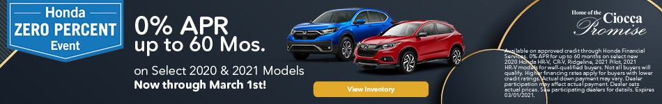 0% APR up to 60 Mos. on Select 2020 & 2021 Models
