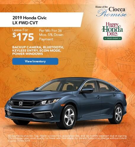 November 2019 Honda Civic LX FWD CVT