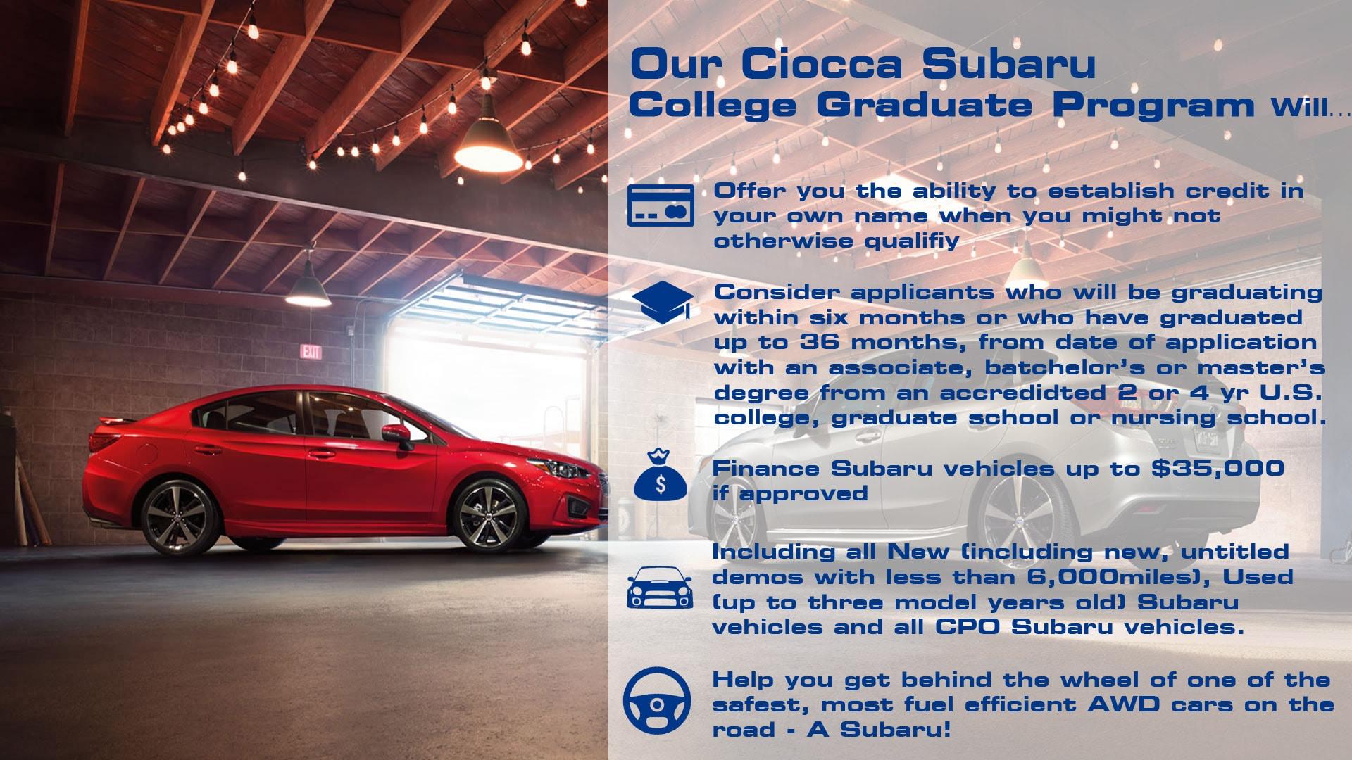 Ciocca Subaru New Subaru Dealership In Allentown PA - Subaru graduate program