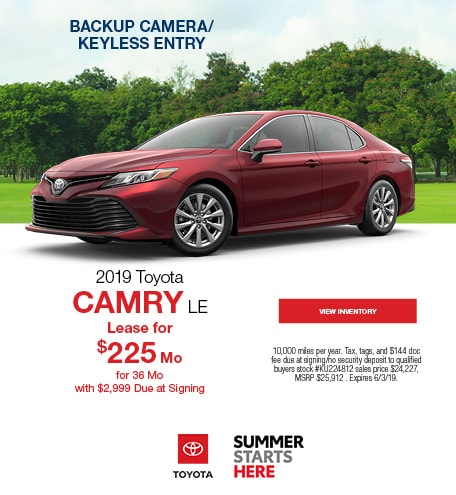 New 2019 Toyota Camry LE 5/13/2019