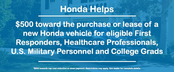 $500 Off for First Responders, Healthcare Professionals, U.S. Military Personnel and College Grads