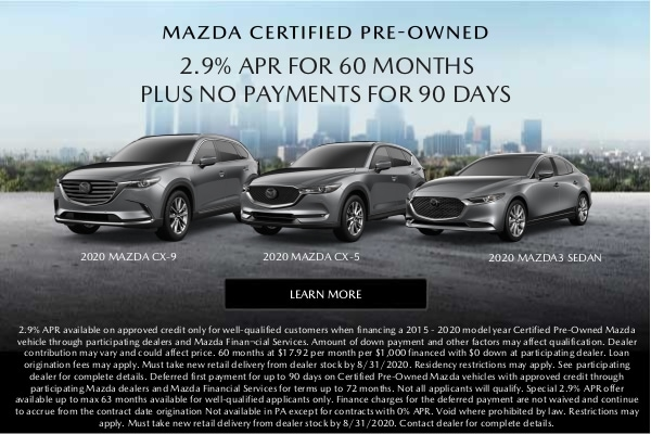 2.9% APR on Mazda CPO Cars