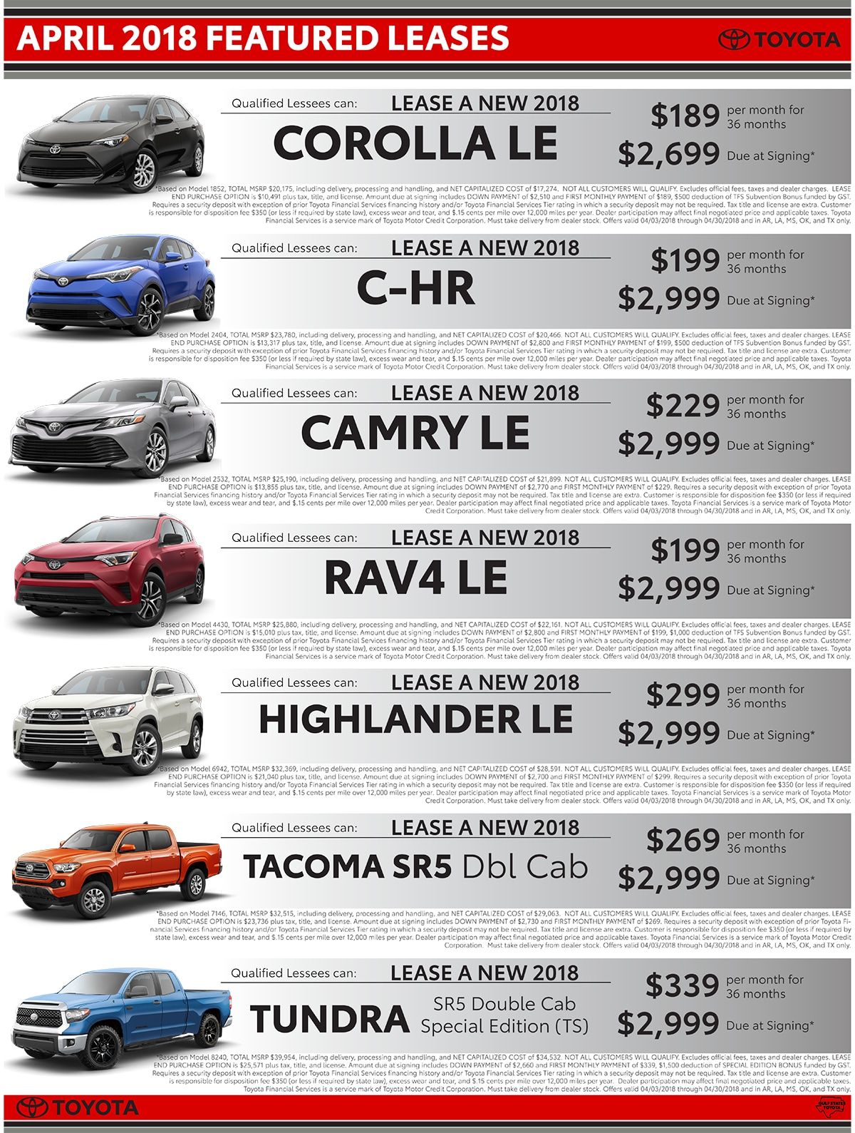 Classic Toyota of Texoma Monthly Lease Deals