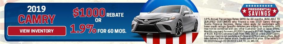RebateAPR 2019 Toyota Camry 2/8/19