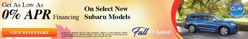 0% Financing Available on Select Models - October