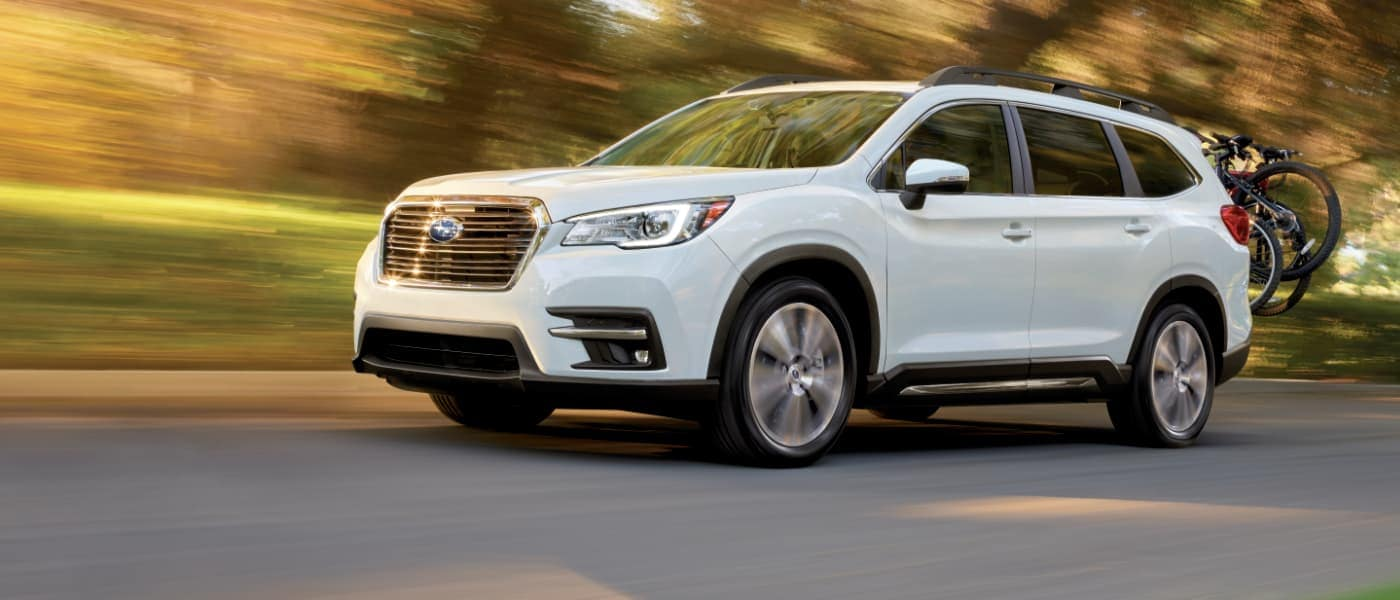 2021 White Subaru Ascent Hauling Bicycles