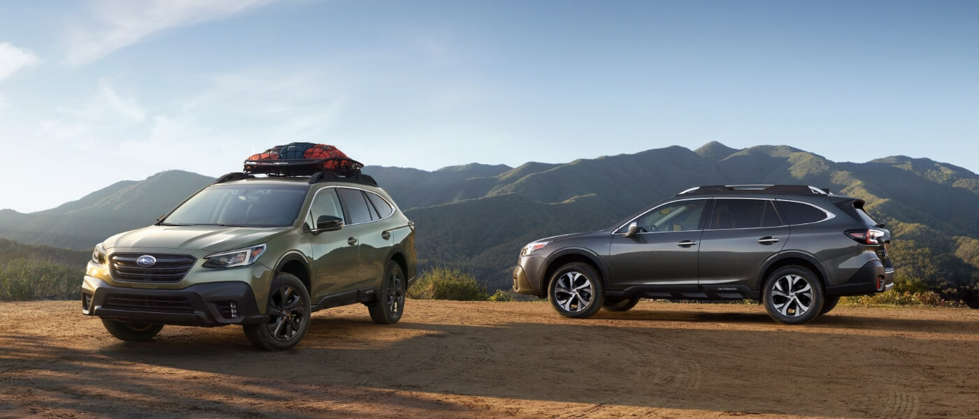 2021 Silver and Green Subaru Outback Parked on a Mountain