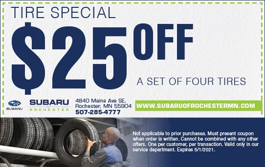 $25 Off Four Tires | Subaru of Rochester