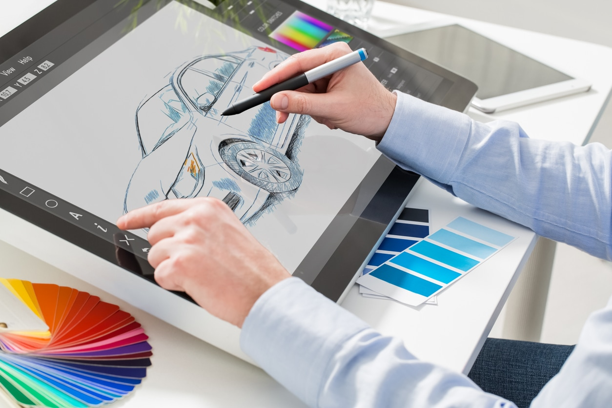 The designer sketching Cadillac's Escala concept.