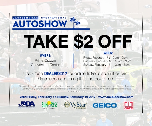 Off Jacksonville International Auto Show - Discount auto show tickets