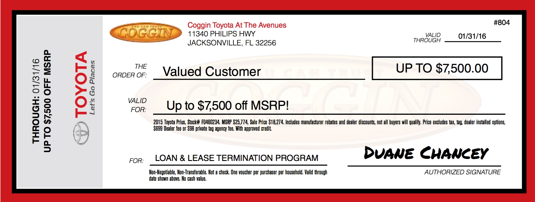 Loan and Lease $7500 off MSRP Voucher