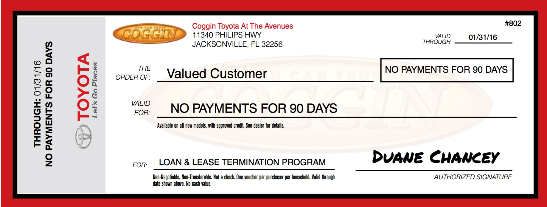 Loan and Lease Termination No Lease Voucher