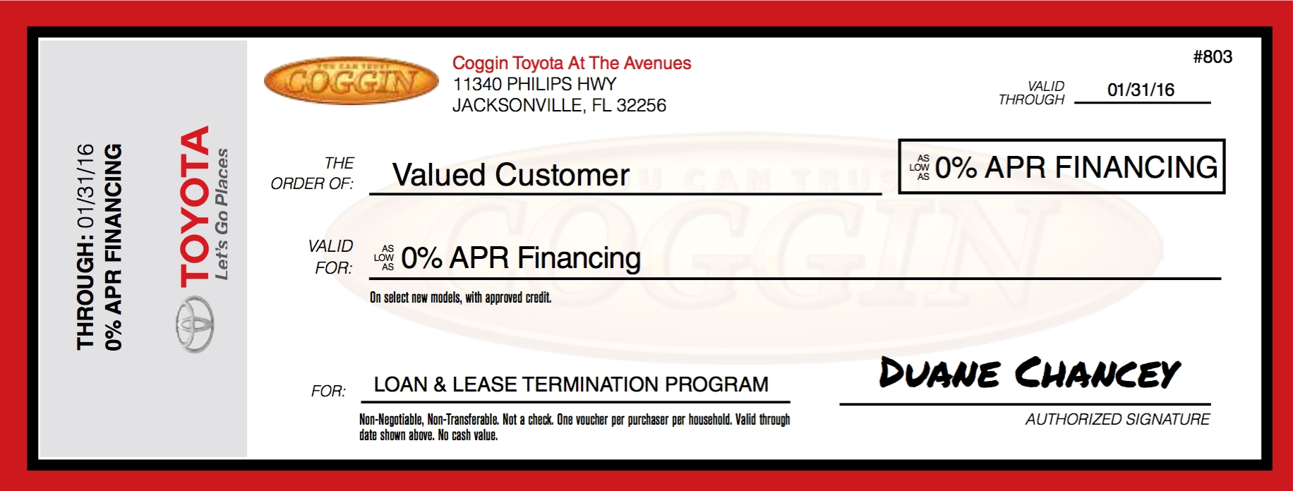 Loan and Lease Termination 0% Financing Voucher