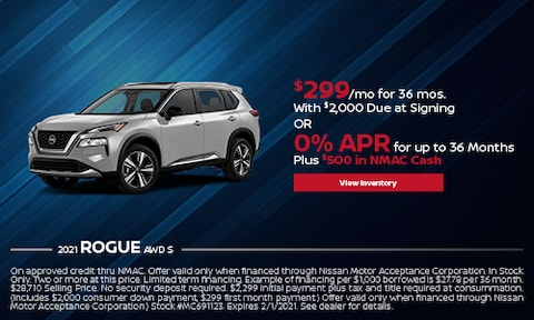 2021 Nissan Rogue - Lease or 0% APR