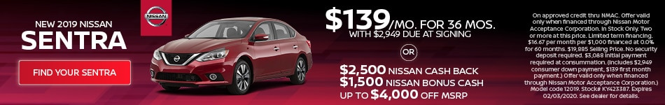 January 2019 Nissan Sentra Offer