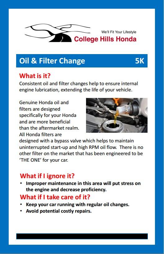 oil filter change college hills honda. Black Bedroom Furniture Sets. Home Design Ideas