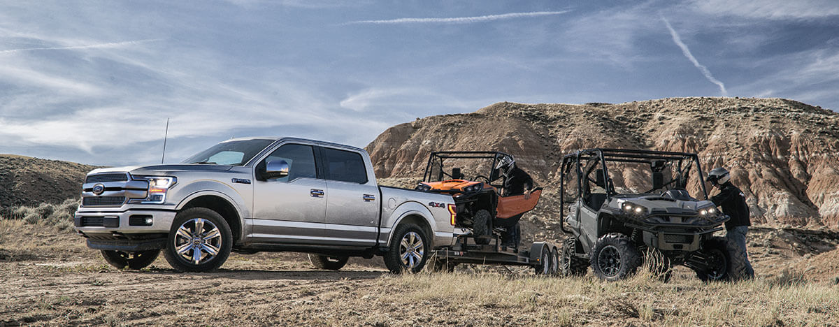 2019 Ford F-150 towing a dune buggy