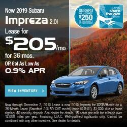 New 2019 Subaru Impreza 2.0i